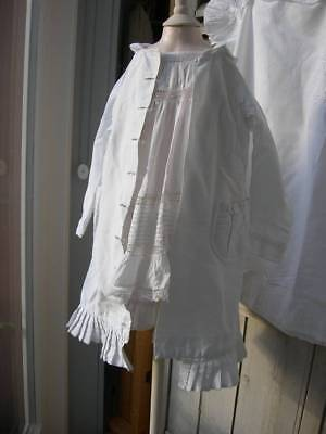 Beautiful antique French child's Victorian corded cotton coat - 1870s
