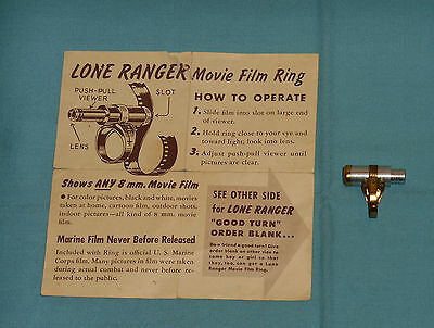 vintage Cheerios cereal premium THE LONE RANGER MOVIE FILM RING & order form