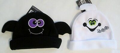 NWT Infant / Baby Halloween fleece hats Bat or Ghost