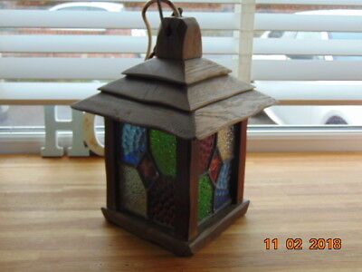Arts & Crafts Solid Oak Lantern  With Stain Lead Lights With Chain And Fixing