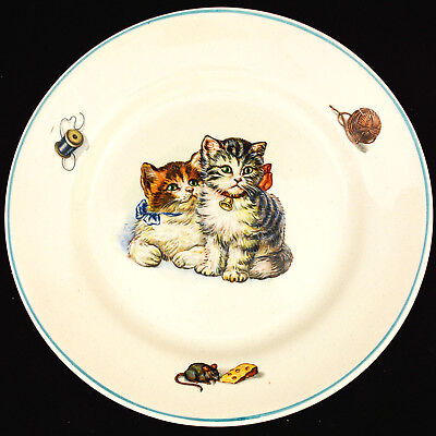 EGERSUND Norway Pair Of Kittens Yarn Mouse W/ Cheese Charming Vintage Plate EUC!