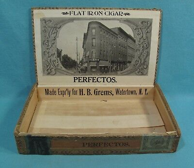 UNUSUAL - FLAT IRON Wooden Box w/ Label Cigar Store Building -Grems Watertown NY