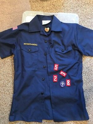 NEW Blue BSA / CUB SCOUT Official SS shirt Large Youth + WOLF NECK SLIDE extras