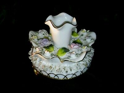 Antique Candle/hat Pin Holder Porcelain Footed W/roses And Gold Trim Shabby Chic
