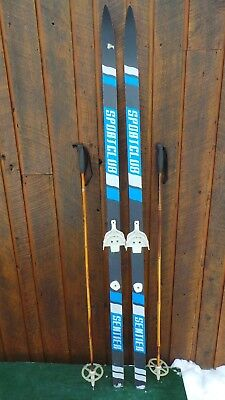 """Great Wooden 70"""" Skis Signed SPORTSCLUB with BLACK BLUE WHITE Finish"""