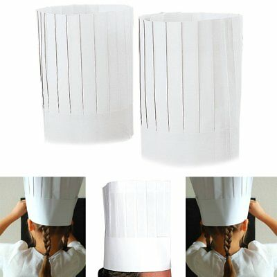 "NEW Disposable White 9"" Paper Chef Tall Hat Set Food Service Supplies 10pc BULK"