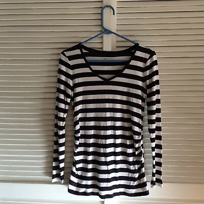Gap Maternity Supersoft Striped Long Sleeve Blouse Size Small V Neck