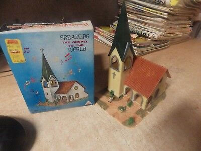 Vintage Light Up Christmas Church Music Box Japan Preaching Gospel To The World