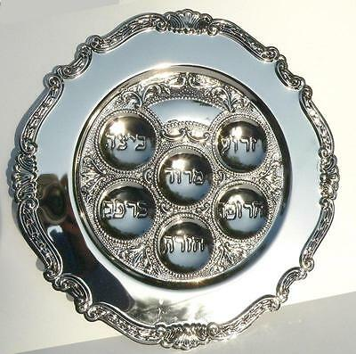 Passover Seder Plate in Hebrew for Kosher Food Blessing Pesach Silver Tone 12""