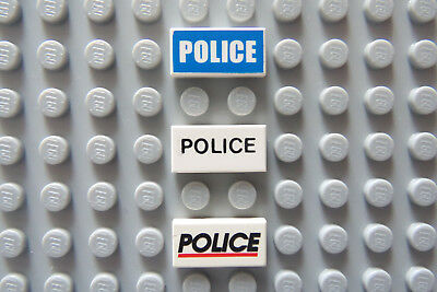 LEGO White Tile 1x2 with Police Printed in Three Different Styles