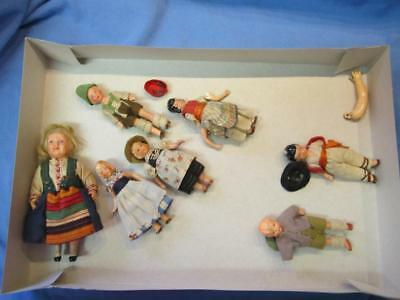 Small Antique Bisque And Composite Dolls And Parts, Nice Lot Of Vintage Dolls!