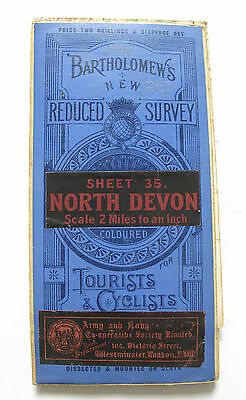 Bartholomew's New Reduced Survey Map of North Devon - Vintage Cloth Map