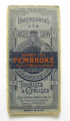Bartholomew's New Reduced Survey Map of Pembroke - Vintage Cloth Map