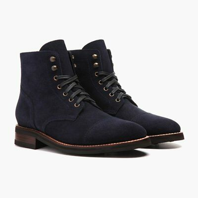 Handmade Men Navy blue Suede ankle boots, Mens fashion lace up boots, Men boots