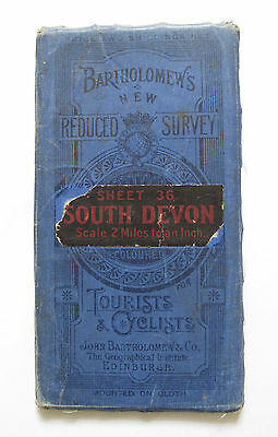 Bartholomew's New Reduced Survey Map of South Devon - Vintage Cloth Map