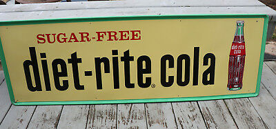 1960s Large 18x54 DIET RITE COLA Sign with Bottle Unused Nice!! RC Soda Pop