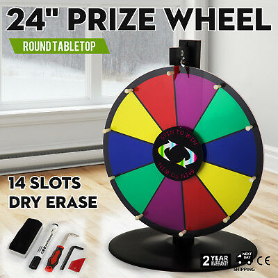 """24"""" Round Tabletop Color Prize Wheel Spinnig Game Holiday Fortune 14 Slots"""