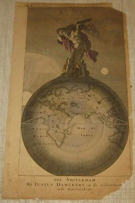 SCARCE Antique c1680 JUSTUS DANCKERTS Atlas Table of Contents COVER ENGRAVING