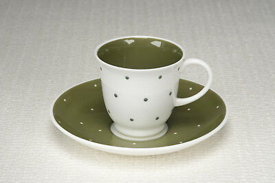 "Vintage 1950's Susie Cooper ""Quail"" shape Cup and Saucer - Raised Spot - Dk Grn"