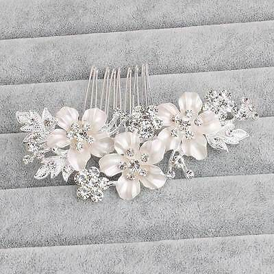 Wedding hair Accessories Crystal Silver Hair Comb Flower Clip Pin Bridal Bride
