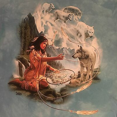 mountain WOLF SPIRIT DREAMS t shirt-NATIVE AMERICAN mystic girl-MEIKLEJOHN--XXL