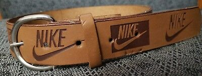 NIKE Kid Boy Girl Leather Light Brown Belt Size S 18-20 Made In USA