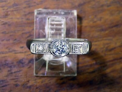Vintage palladium AUTHENTIC ART DECO 1920's 1930's ENGAGEMENT DIAMOND ring
