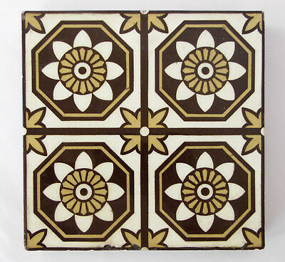 "Three (3) Antique three-colour Encaustic Floor tiles 6 x 6"" – Stoke on Trent"