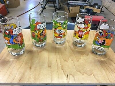 Lot of Five McDonald's Camp Snoopy Charlie Brown Drinking Glasses NICE!!