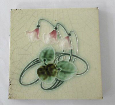Three (3) Antique Art Nouveau Majolica Tiles – Henry Richards c. 1910