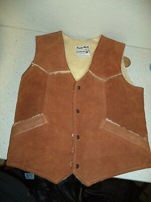 Pioneer Wear Vintage Leather Vest Sherpa Lined Mens Beaver Brown Size 42