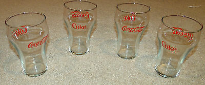 "Set of 4 Vintage Coca Cola Glasses-Clear/Red-Hour Glass-5""-Collectible-New/NIB!"