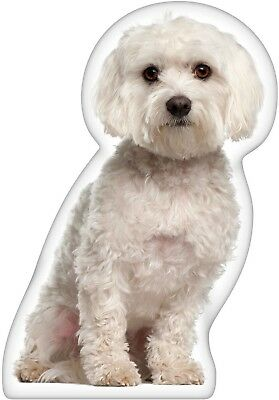 Maltese Shaped Pillow Dog Animal Print Bed Sofa Bedroom Accent Machine Washable