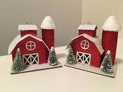 2 Vintage Style Christmas Paper Holiday Farm Barn House Tree Ornaments