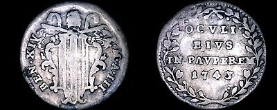 1743-III Italian States Papal States 1 Grosso World Silver Coin - Benedict XIV