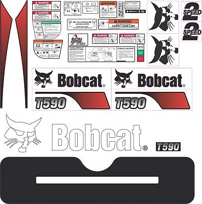 Bobcat T590 Aftermarket Decal Kit with controls and warnings.