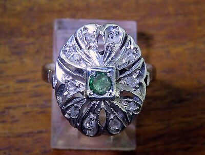 Vintage palladium ART DECO 1920s 1930s GENUINE COLOMBIAN EMERALD & DIAMOND ring
