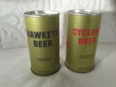 2 Vintage Hawkeye & Cyclone Beer Cans Royal Brewing Co. 1980
