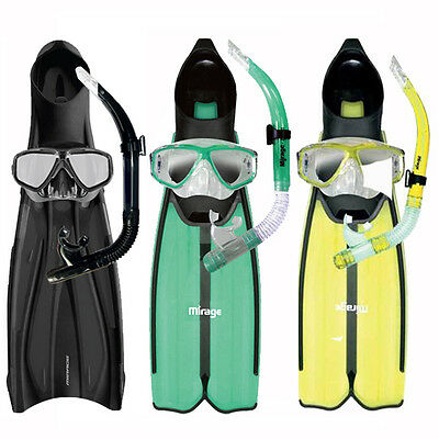 Barracuda Silicone Adult Snorkel Package Includes Mask Snorkel & Fins Sizes S-XL