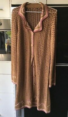 Vintage Long Coffee Pink Cream Embroidered Crochet Bohemian Long Jacket