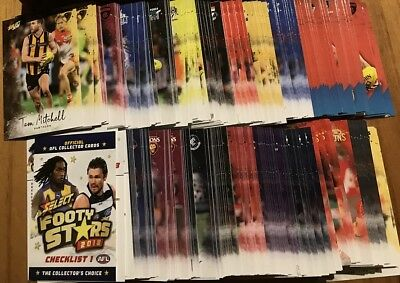 2018 afl select FOOTY STARS COMPLETE COMMON SET 222 CARDS + 32 AFLW CARDS