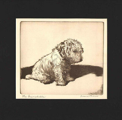 THE INCONSOLABLE DOG Print 1935 by Diana Thorne SEALYHAM TERRIER Black Mat