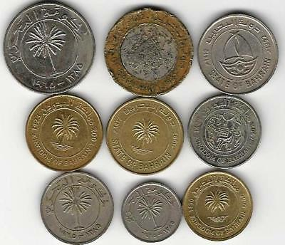 9 different world coins from BAHRAIN