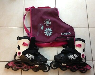Oxelo Girl's Pink Adjustable Inline Skates - Sizes 36-38 (UK 3-5) with bag