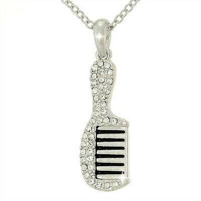 "Comb Pendant Made With Swarovski Crystal Clear Hairstylist Necklace 18"" Chain"