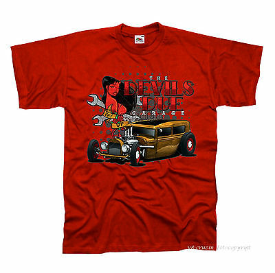 /&/' 50 STYLE Motivo Modello The Outlaw Worker SHIRT GRIGIO v8 Oldschool Hot Rod US Car