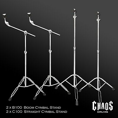Chaos Drums Australia 4 Piece Boom & Straight Cymbal Stand Pack