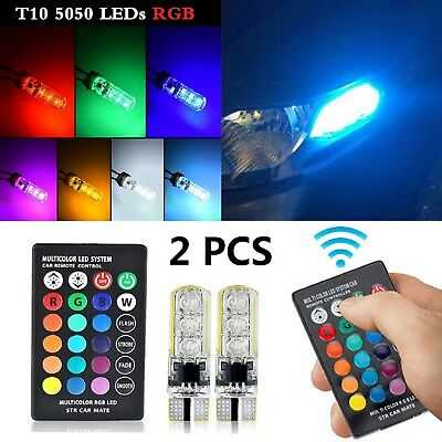2X LED T10 Remote Control W5W Wedge RGB Color Changing Car Light Bulbs 6SMD 5050