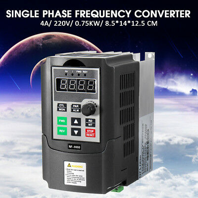 220V 0.75KW 4A Single Phase 3PH Variable Output Speed Drive Frequency Converter