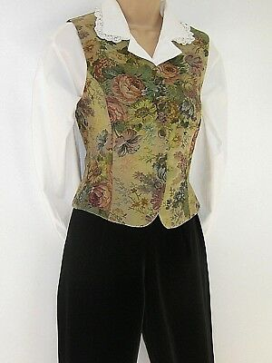 Laura Ashley Vintage Bronze Floral Victorian Steampunk Tapestry Waistcoat, 10